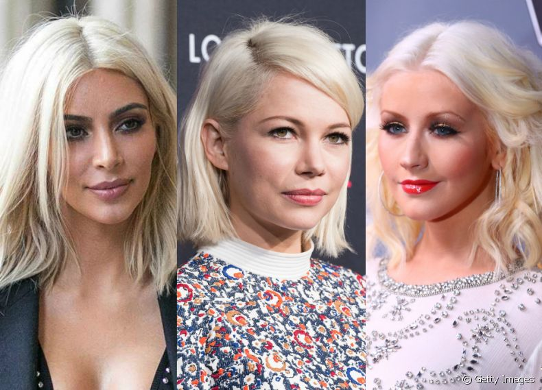 Aposte na tendência icy blonde como as famosas Kim Kardashian, Michelle Willians e Christina Aguilera
